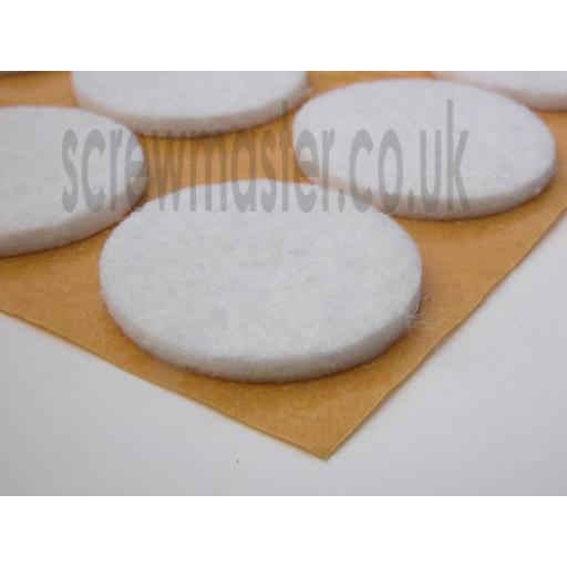 12 White Felt Pads 20mm diameter protect floor from scratching self adhesive sticky