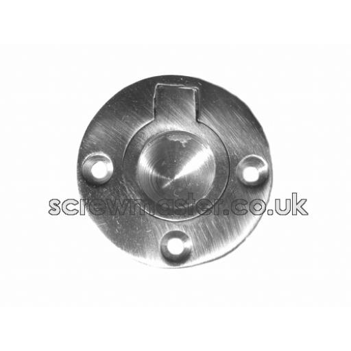 Flush Ring Pull recessed door Handle 38mm diameter Polished Chrome round
