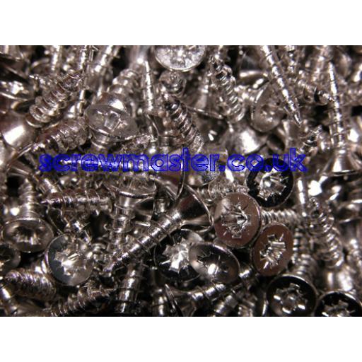 50 Nickel Plated Screws M3.5 x 15mm csk pozi