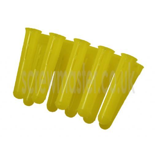 100 Yellow Wall plugs masonry fixings for M3 & M3.5 screws