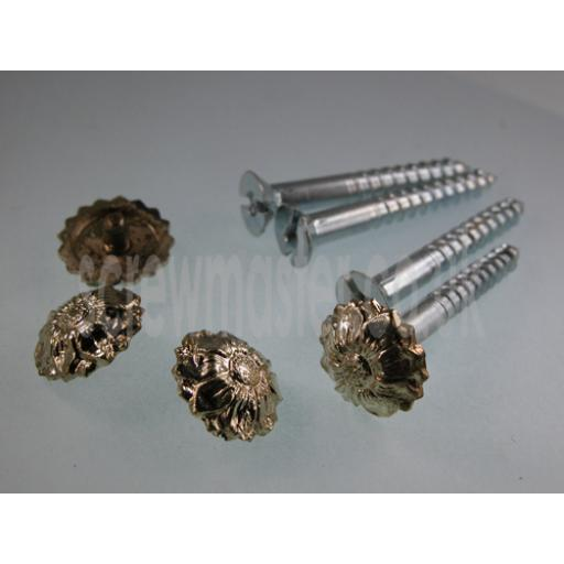 Pack of 4 Mirror Screws with Floral Decorative Die Cast Brass plated Metal Rosette screw in Cap 5BA