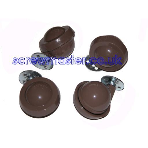 set of 4 Shepherd Kenrick ball Castors plate fix traditional Browns Metal