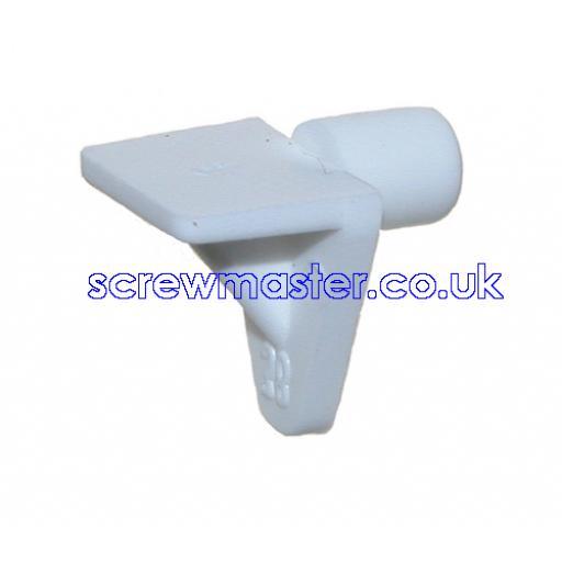 4 off White Plastic Shelf Support 5mm peg for adjustable shelves