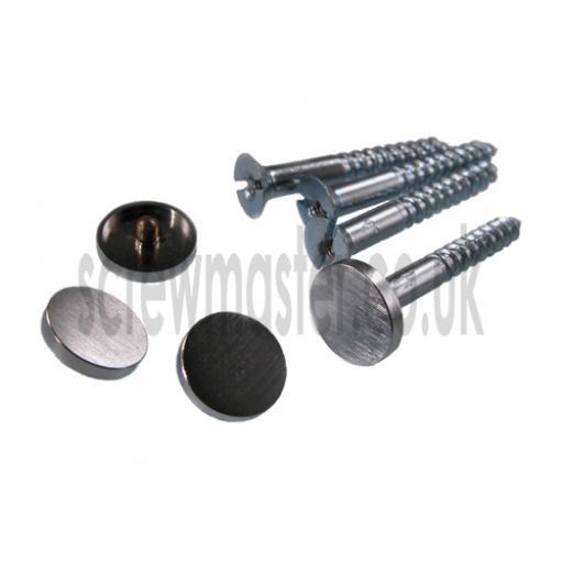 Pack of 4 Mirror Screws with Brushed Satin Chrome Disc screw in Cap 38mm diameter flat Cover Head