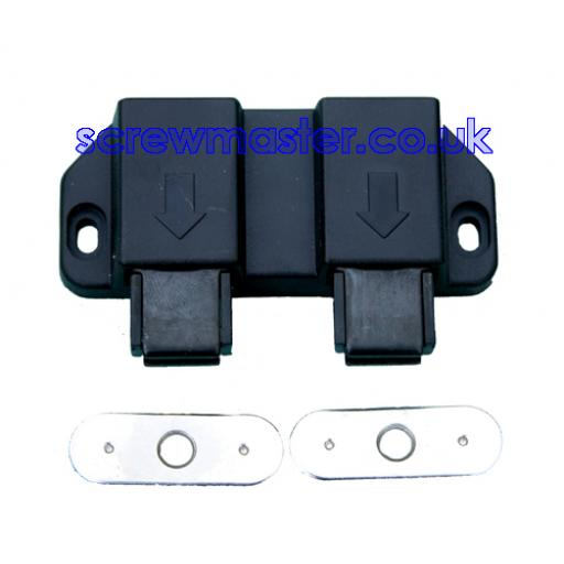 Double Magnetic Pressure Catch for two cupboard doors
