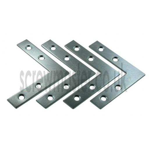 Angle Plate Corner Brace flat 'L' shape Repair Bracket 75mm x 75mm x 16mm x 2.2mm BZP