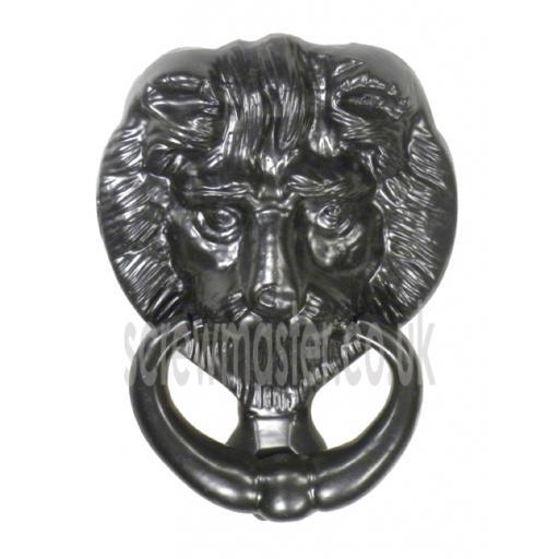 Lions Head Door Knocker Black Cast Iron 152mm antique rustic style