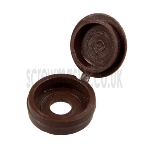 20 Hinged Screw Cover Caps Brown for M3.5 & M4 screws (6 and 8 gauge)