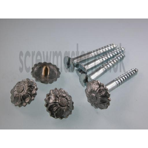 Pack of 4 Mirror Screws with Floral Decorative Die Cast Chrome plated Metal Rosette screw in Cap 5BA