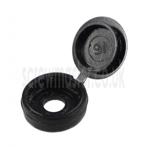 20 Hinged Screw Cover Caps Black for M3.5 & M4 screws (6 and 8 gauge)