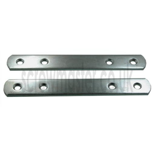Pair of Straight Connector Plates 138mm x 19mm steel strip for false drawer fronts larder doors