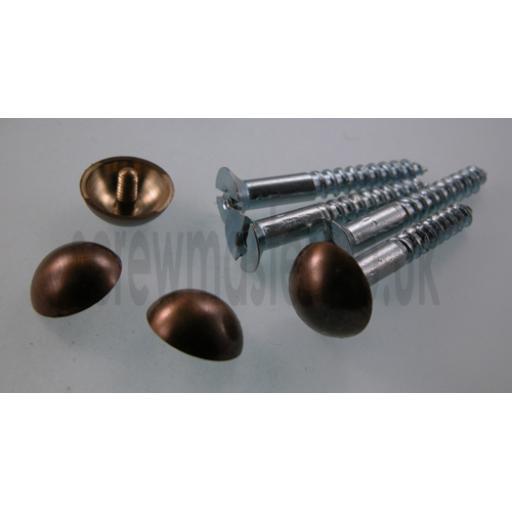 set of 4 Mirror Screws with Bronze Dome screw in Cap 12mm diameter