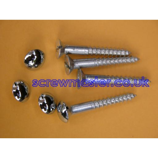 set of 4 Mirror Screws with polished Chrome Mushroom Dome screw in Cap 10mm diameter