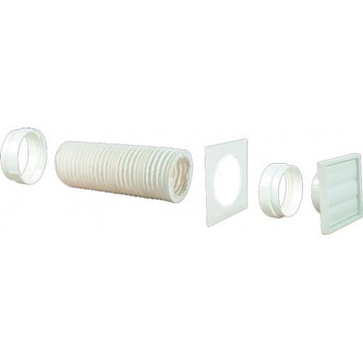 Ducting Kit 125mm diameter white 1 metre long for cooker hood extractor fan