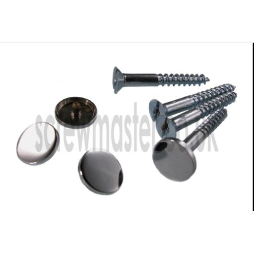 Pack of 4 Mirror Screws with Polished Chrome Disc screw in Cap 15mm diameter