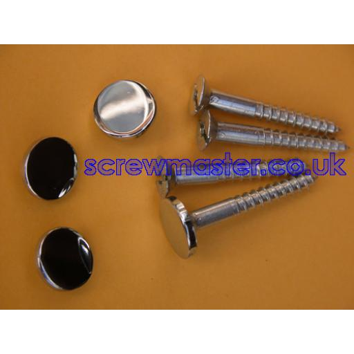 set of 4 Mirror Screws with Polished Chrome Disc screw in Cap 10mm diameter