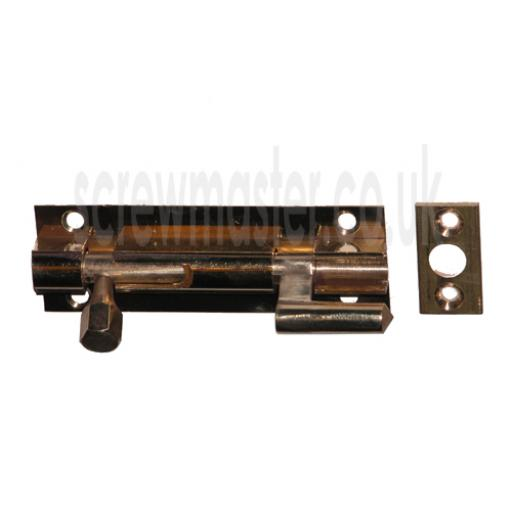 Solid Brass Barrel Bolt necked 75mm polished and lacquered sliding