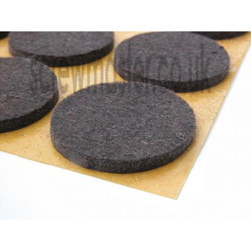 12 White or Brown Felt Pads 24mm diameter protect floor from scratching self adhesive sticky