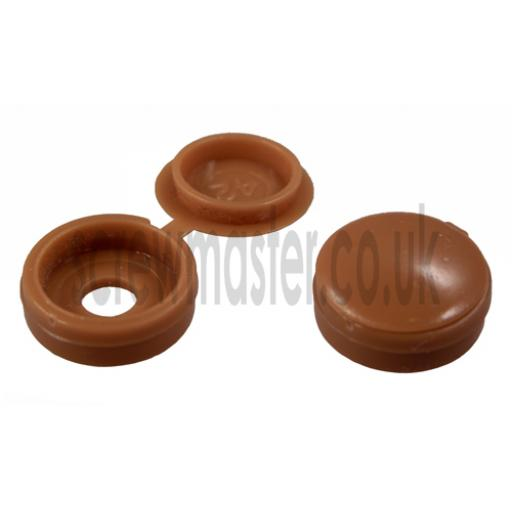20 Hinged Screw Cover Caps Light Brown for M3.5 & M4 screws (6 and 8 gauge)